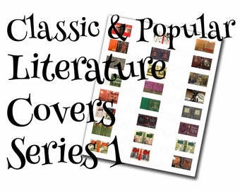 Classic/popular literature dollhouse book covers series 1 of 2, 1:12, PDF digital file, three sizes, 24 styles, 72 book covers!