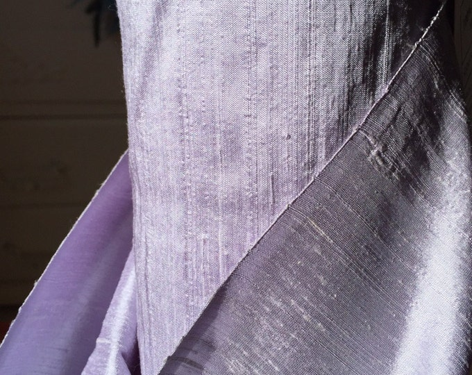 "Lilac Lavender tone-on-tone 100% dupioni silk fabric yardage By the Yard 45"" wide"