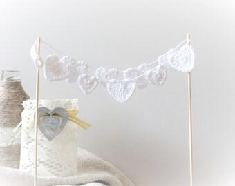 Hearts cake topper - crochet hearts decor - rustic wedding cake topper - beach party cake topper - white hearts decor ~15.7 inches