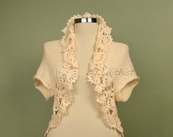 Knit Shrug,  Crochet Bolero, Crochet Shrug, Knit Bolero, Cream Wedding Shrug, Bridal Bolero, Bridal Cape, Sweater Cardigan, Women Vest
