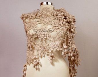 Bridal Shawl Wrap, Crochet Shawl, Wedding Shawl, Crochet Lace Shawl, Champagne Wedding Cover Up, Bridal Shrug Bolero, Triangle Scarf
