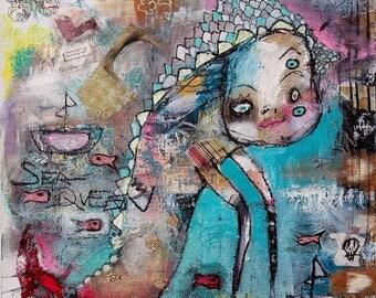Surreal Art Print. outsider art, art brut, Colorful wall art, whimsical art. strange home decor, monster art, playful sea creature, fantasy