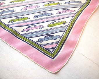 1950s Silk Chiffon Scarf Vintage Cars Automobiles Pink White Green Blue