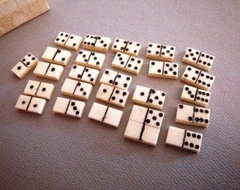 "25 Miniature Bovine Bone Dominoes for Jewelry Making Upcycle Etc 5/8"" Long"