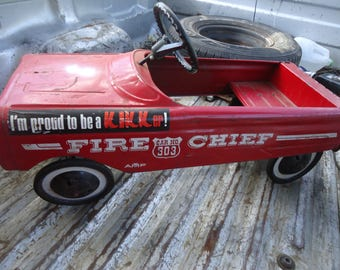 Vintage 1950's AMF Pedal Car 503 Fire Chief Dept, collectable