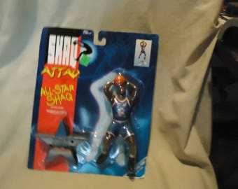 Vintage 1993 Shaq Attaq All Star Shaquille O'Neal Basketball Action Figure by Kenner In Sealed Package, collectable, basketball