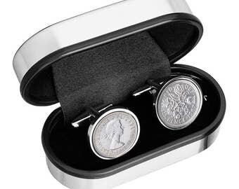 Wedding Cufflinks- Genuine English lucky Sixpence-From the poem 'Something borrowed.....