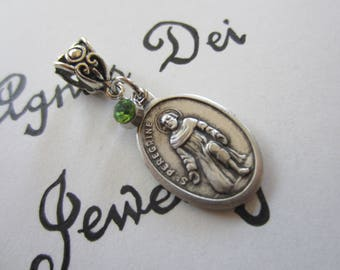 St Peregrine Medal & Lt Green Glass Charm Pendant, Patron Saint Medal, Patron Saint for Cancer and AIDS Patients