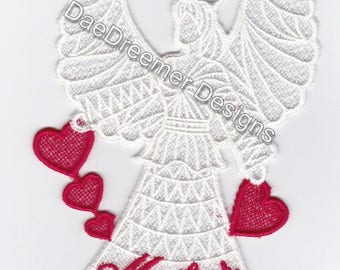 Lace Angel holding hearts with Mom on the angel