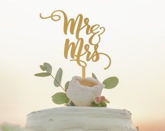 Mr and Mrs Cake Topper - Wedding Cake Topper - Custom Mr Mrs Cake Topper - Personalized Cake Topper - Gold Cake Topper - Silver Cake Topper