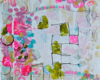 Colorful Abstract Art Print, Mixed Media Collage Art, Flower Painting, LDS Art, Bohemian,  Nursery, home decor, be still- by Judie Parsons