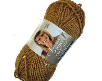 Vanna's Sequins Yarn from Lion Brand Yarn, Amaretto Gold Beige Color 171, Acrylic, Vegan Sport Weight Yarn with Sequins