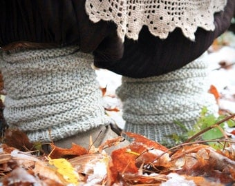 Wildling Knits Pair of Natural Colored Wool Leg Warmers Slouchy Socks Boot Toppers Ready to Ship