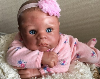 Reborn Baby Girl hand panted, magnetic pacifier, ready to ship