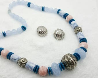 Avon Moraccan  Blue and silver finish Necklace with   Pierced earrings Mint Condition 1989