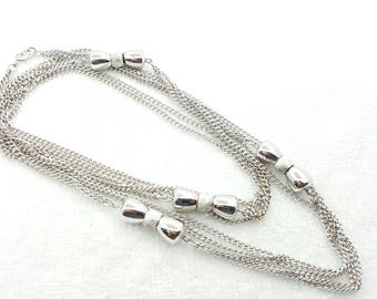 Monet Silvery Long Flapper   Necklace 54 inches long chains beads