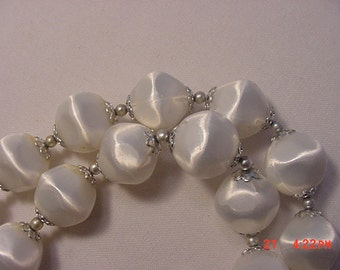 Vintage Adjustable Two Strand White Plastic Bead Necklace  16 - 639