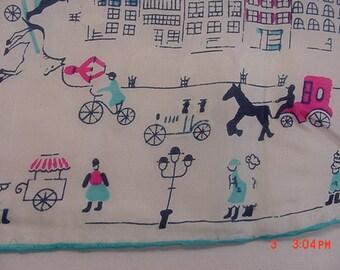 Vintage Silk & Rayon City Scenes Theme  Handkerchief 17 - 242