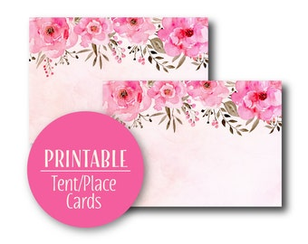 Pink Floral Tent Place Cards | Buffet Cards Place cards |  Baby Shower Decor Printable  0531