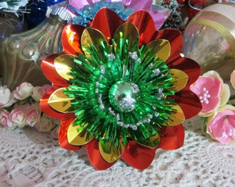 Vintage Christmas Foil Flower Corsage Picks-Mercury Glass-Package Ties-Tinsel-Old Stock-Handmade with Vintage Supplies