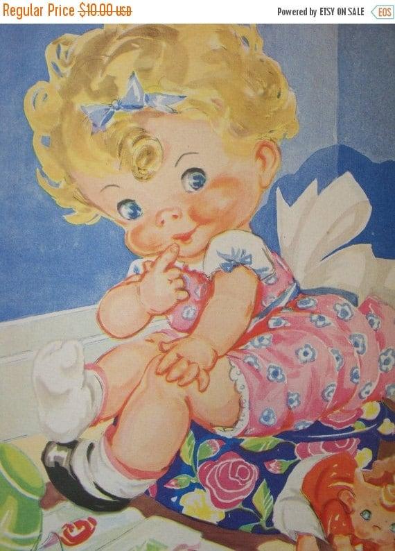 ON SALE Vintage Ruth Newton Nursery Rhyme Book Print-Little Curly Sue-Book Plate