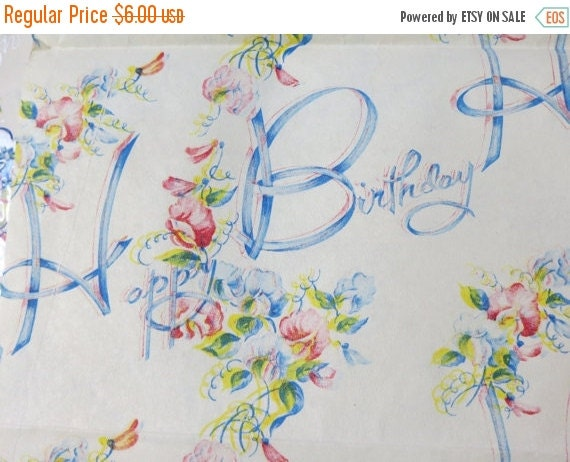 ON SALE Vintage Gift Wrap-Old Stock-Wrapping Paper-Happy Birthday