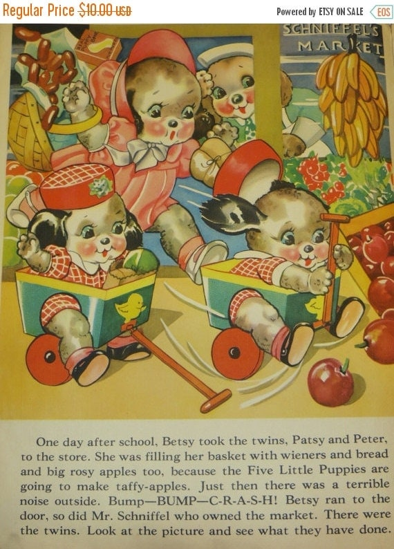 ON SALE Vintage Ruth Newton Childrens Nursery Rhyme Book Print-Puppies Go Shopping-Book Plate