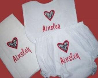 Personalized, baby shower set, monogrammed, Zebra print heart baby infant bib burp cloth bloomers diaper cover shower gift set