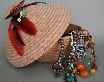 Spirit Basket, Coiled Basket, Clothesline Basket