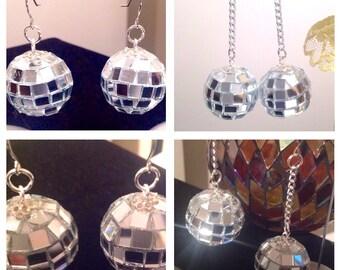 Disco Ball/Disco Ball Earrings/Disco Diva/Mirrored Disco Balls/Disco Ball Earrings/DISCO Ball/Mirror Disco Ball/CLEARANCE ITEM