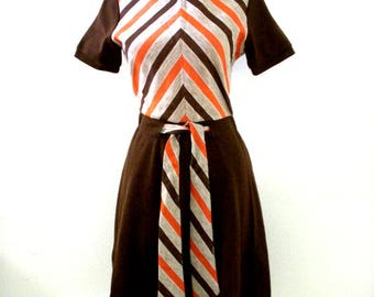 Vintage 70s Brown and Orange Day Dress by Howard Wolf - 1970s Boho Short Sleeves Dress with Chevron Stripes - Size Small