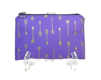 Zipper Pouch, Purple Gold Arrow, Pencil Pouch, Accessory Bag, Gadget Case, E-Cig Case, Arrow Zip Bag, Padded Pouch, Purse Pouch