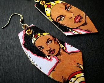 Black Wonder Woman - hand-painted comic book earrings