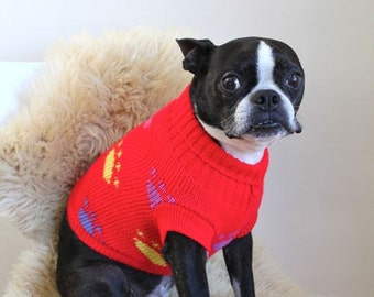 vintage dog sweater - PAW PRINT red pet clothing  / S dog