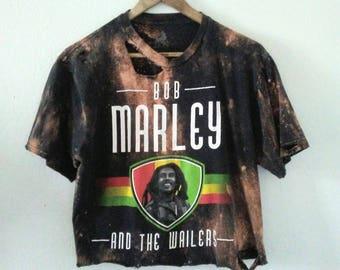 Bob Marley TShirt / Crop Top / Half Tee / Band TShirt / Distressed / Grunge / Boho / Rocker Tee / Rocksteady / Reggae / Rasta / Rastafari