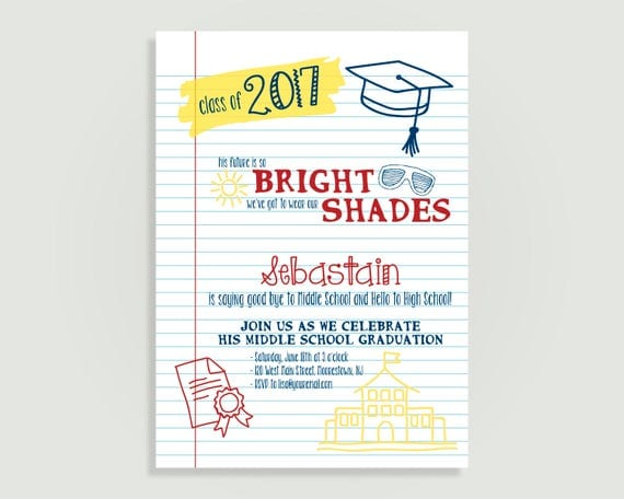 Graduation party invitation school notebook personalized il570xn filmwisefo