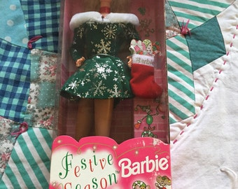 Vintage NRFB 1997 Festive Season Barbie Doll Christmas Barbie Made by Mattel #4120