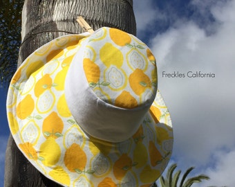 Gardening Sun Hat Wide Brimmed Hat in Lemon Print Summer Wide Brim Sunhat Gift for Her White SunHat Gift for Mom by Freckles California