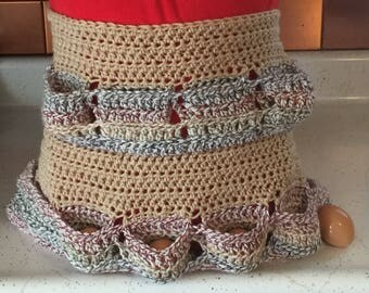 Crochet Egg Gathering Apron  Extra Deep Egg Pockets  Eggs Stay Put,  Egg Collecting Apron,  Adult Size,  14 Eggs, Childs Size 8 Eggs