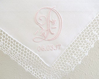 Wedding Handkerchief: Crochet Lace Handkerchief with Peony Design 1-Initial Monogram and Date