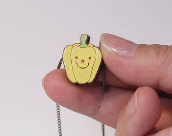 Lovely bell pepper hand painted necklace