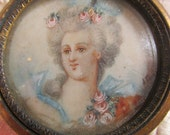 "Victorian French Signed Miniature of "" Lady in her Finery "" Glass Fronted with a Gilt Metal Frame Photography Prop"