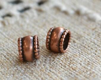 2pcs Metal Bead Antiqued Copper 7.5x5.5mm Rondelle 5mm Hole