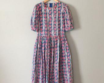 floral pariwinkle blue baby doll dress | Laure Ashley cotton maxi dress