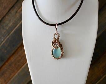 Celestite Wire Wrapped Pendant/ Copper Pendant/ Chakra Pendant/ Feng Shui Jewelry