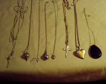 Vintage Lot Sterling Silver 8 Pendant Necklaces Puffy Heart Victorian Chain Seashells Cross Moon Heart 9105