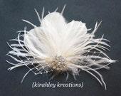 Ivory Off White Ostrich Feather Veil Prom Wedding Bride Bridal CYNTHIA Fascinator Headpiece Hair Clip Rhinestone Customizable Great Gatsby