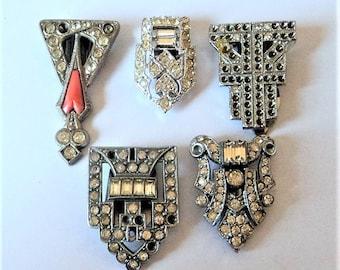 5x Art Deco Dress Clips... Silver & Diamante... Repair or Repurpose Lot