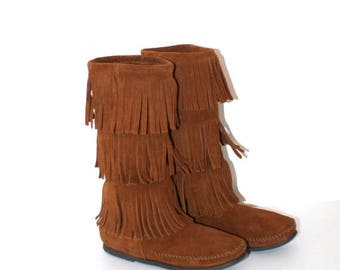 40% OFF SALE Vintage Brown Leather MINNETONKA Leather Moccasin Boots . Three Tiers of Fringe .  Boho Hippie .  Fabulous Condition . Size 7