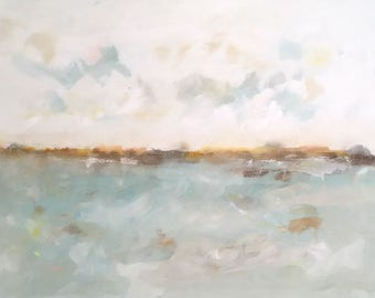Light blue abstract seascape -Quiet Coast 48 x 36